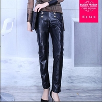 Genuine leather pants female 2018 autumn winter new high waist leather harem trousers spell leather was thin pencil pants L1158