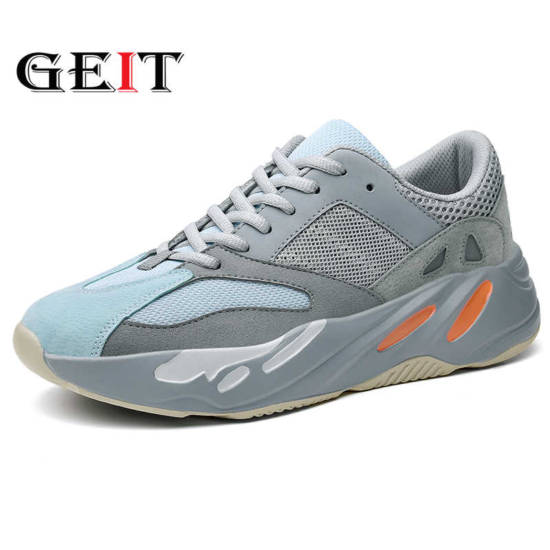 GEIT New Mesh Men Casual Shoes Reflective Shoes Lac-up Men Shoes Lightweight Comfortable Breathable Walking Sneakers Men Shoes