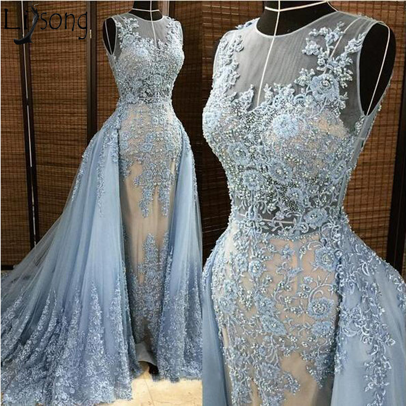 Top Quality Blue Mermaid Evening   Dress   Detachable Overskirt Illusion Neck Pearls Beaded Lace Appliques Long   Prom     Dress   Custom