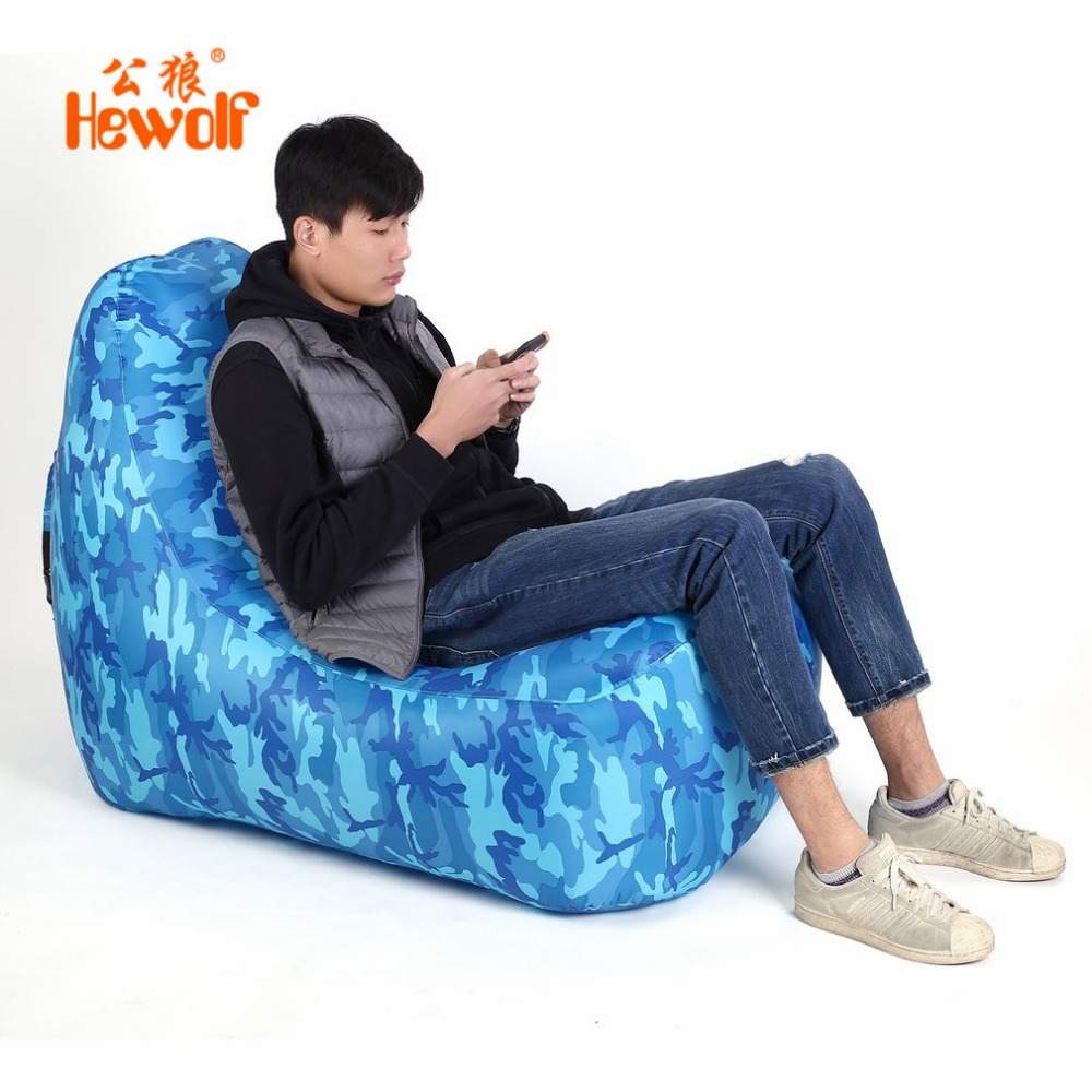 Portable Lazy Lounger Chair Bag Fast Inflatable Sofa Indoor Outdoor Sleeping Air Couch for Camping Beach Park Wind Bed Hangout norent brand waterproof inflatable mattress camping beach picnic air sofa outdoor swimming pool lazy bed folding portable chair