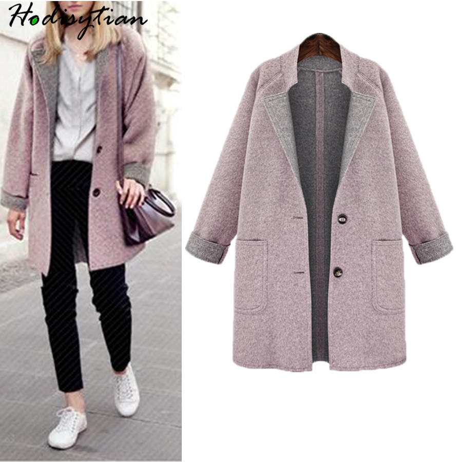 Hodisytian Spring Fashion Women Wool Blends Coat Elegant Casual Loose Pink Jacket Outerwear Female Cashmere Overcoat