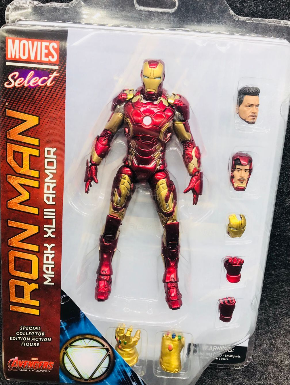 Original Marvel Select Avengers Ironman Mark 45 Super Hero Iron Man Action Figure Model Toys 18cm the avengers egg attack iron man patriot a i m ver super hero pvc ironman action figure collection model toy gift 18cm