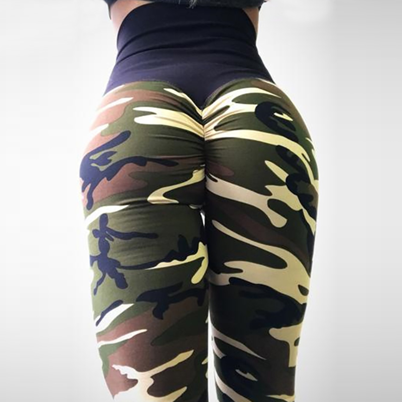 NORMOV Fashion Womens Leggings High Waist Camouflage Printing Skinny Elasticity Workout Leggings Sexy Wrinkle 4Color Leggings