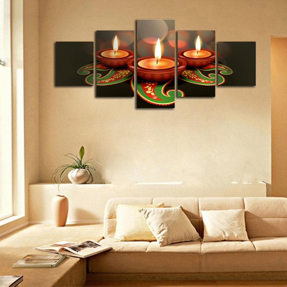 Frame Painting Living Room Decoration Modular Pictures 5 Piece Animated  Clay Lamps Diwali Wall Art Home Decor Poster Canvas  In Painting U0026  Calligraphy From ...