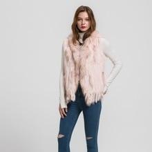 2016 New L / XL Rabbit  Real Fur Vest Raccoon Fur Collar Women Winter Fashion Gilet Waistcoat Ladies Coat  S1700