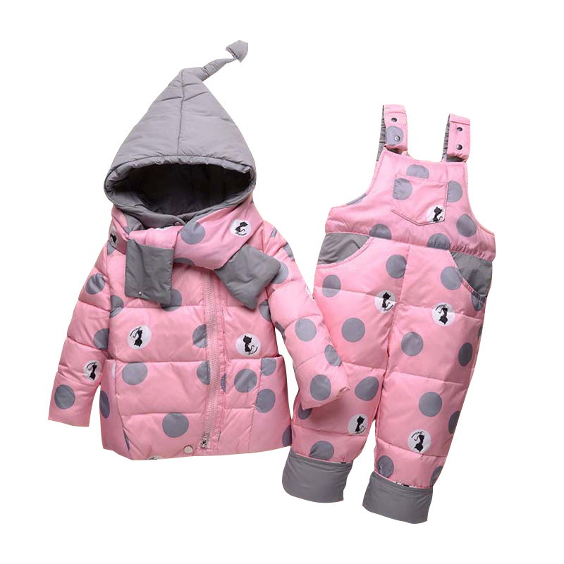 Baby Girl Winter Set Kids White Duck Down Jacket+Scarf+Suspender Pants Snow Suit Toddler Casual Hooded Coat Infant Warm Clothes браслеты sokolov 050885 s