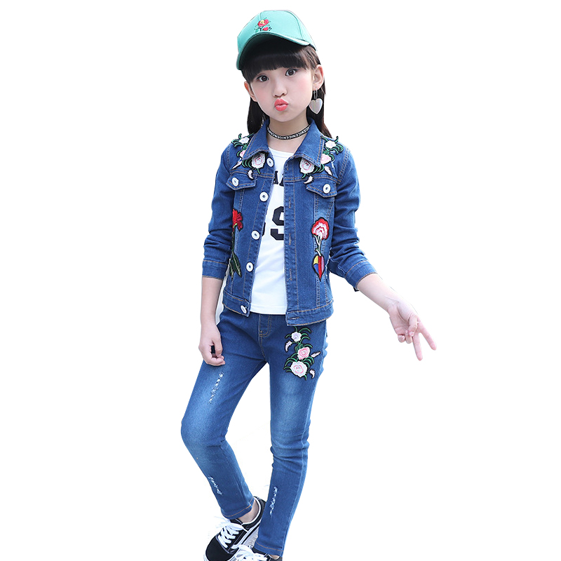 Girls Clothing Set Spring Autumn Children Embroidery Flowers Denim Jacket+Jeans 2 Pcs Girls Sports Cowboy Suits 4 6 8 10 12 13 Y afs jeep autumn jeans mens straight denim trousers loose plus size 42 cowboy jeans male man clothing men casual botton page 7