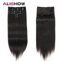 Alishow Hair Clip Hair Extensions Mix Color 14inch 24inch 100% Nature Remy Hair 7Pcs 100g #27/613 Blonde Human Hair in Clips