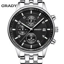 GRADY Nueva Moda negro dial grande Diseñador de Los Hombres de Cuarzo Reloj de Pulsera Hombres reloj relogio masculino relojes
