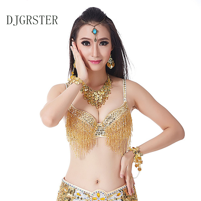 DJGRSTER Sequined Belly Dance Bra Top Beaded/Diamond/Dance/Carnival Bra Fringe Sexy Indian Dancing Costume 34/75C Cup 10 Colors