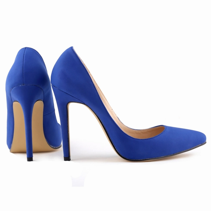 Blue Faux Suede 11cm High Heels Wedding Party Spring Summer Women Shoes Work Court Pumps Classic Style Big Size Free Shipping In Womens Sandals From