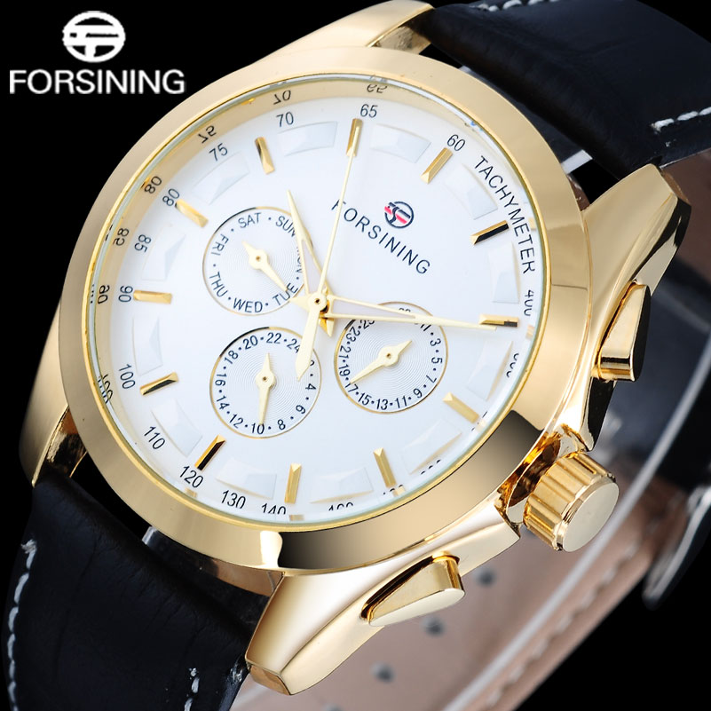 FORSINING Luxury Brand men watch Fashion Gold Case Gold Point Relogio Masculino Date Hour Week Dial Display Black Dial Watches forsining tourbillon designer month day date display men watch luxury brand automatic men big face watches gold watch men clock