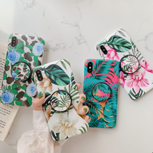 Kickstand Holder Case For iPhone 11 Pro Max 6 6S 7 8 Plus X XS XR Retro Art Flower Soft Back Cover for Fundas