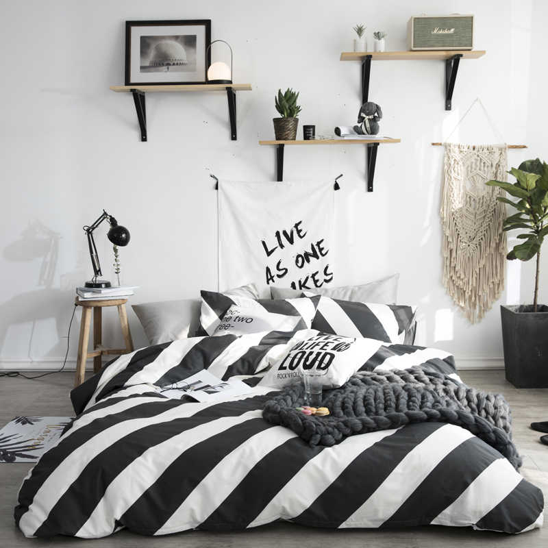 LAGMTA 100% Cotton Brief Bedding Set Bed Sheet Duvet Cover Pillowcase Twin Full Queen King Size