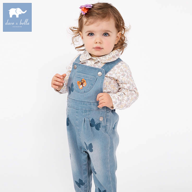 DBZ6974 dave bella spring baby girls fashion denim overalls children toddler clothes baby cute overalls купить в Москве 2019
