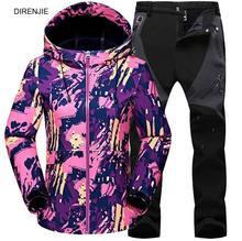 Woman Winter Fleece Warm Trekking Fishing Waterproof Jacket SoftShell Pants Sports Sets Camping Hiking Ski Jackets Pant suits