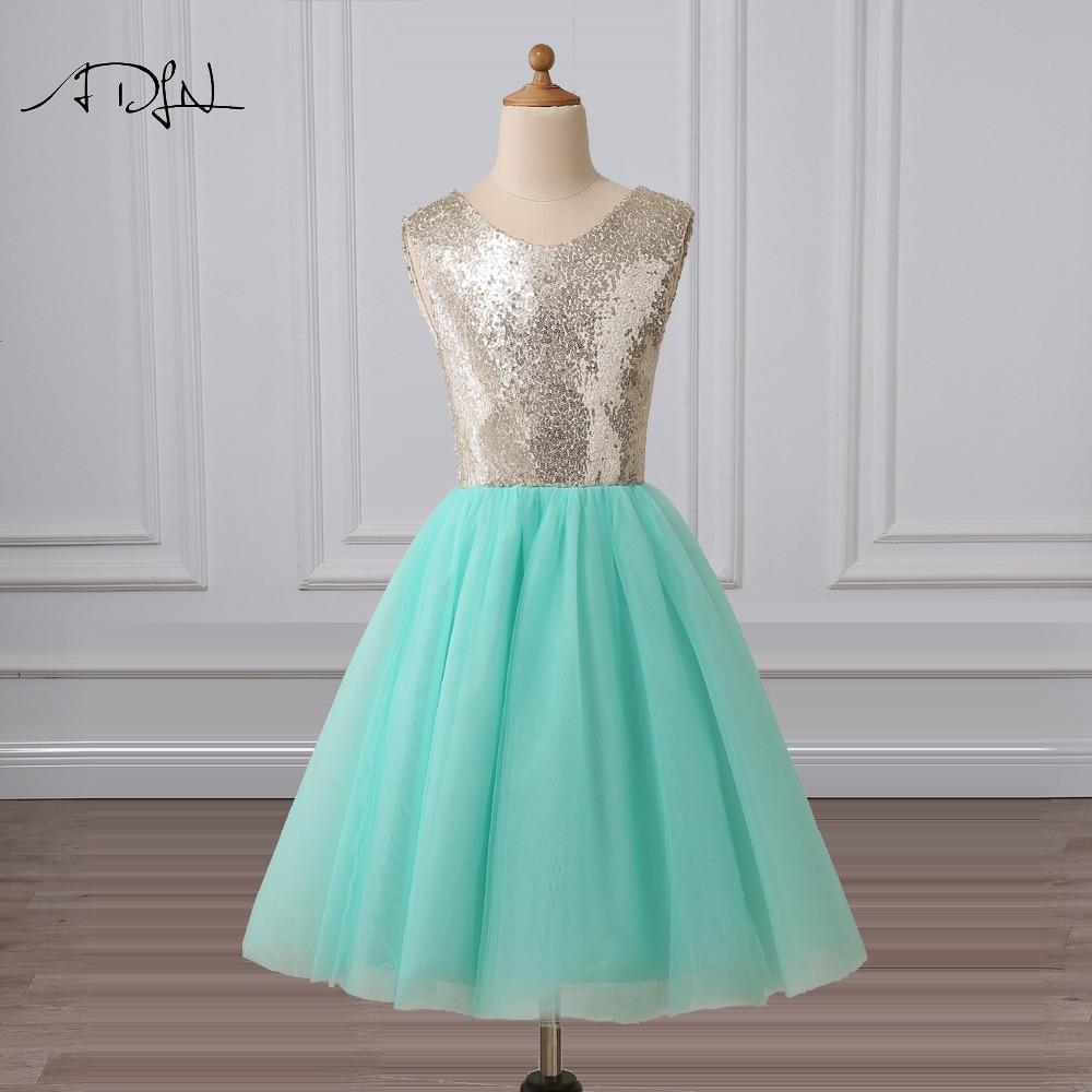 ADLN Mint Green Flower Girl Dresses Scoop A-line Knee-length Sequin ...