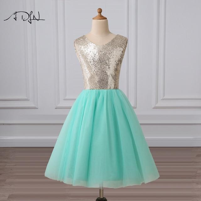 042d27cd9 ADLN Mint Green Flower Girl Dresses Scoop A-line Knee-length Sequin Gowns  for Flower Girls Design Pageant Dresses for Girls Glit