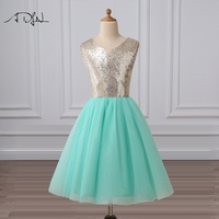 ADLN Mint Green Flower Girl Dresses Scoop A Line Knee Length Sequin Gowns For Flower Girls
