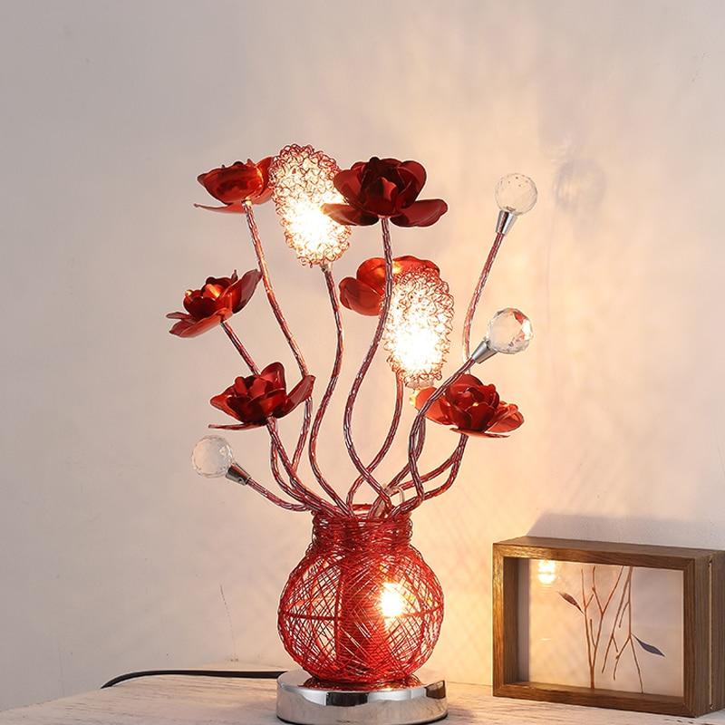 Спальня ночники светодиодный кристалл настольную лампу Творческий Алюминий красная роза Свадебный светодиодные настольные лампы День рож...