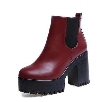 2018 Fashion Vrouwen Laarzen Vierkante Hak Platforms Zapatos Mujer PU Lederen Dij Hoge Pomp Laarzen Motorfiets Schoenen Hot Koop
