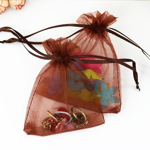 7x9cm Coffee Organza Bags Jewelry Package Organza Wedding Gift Bags can Customized Logo Printing Bags 100pcs/lot