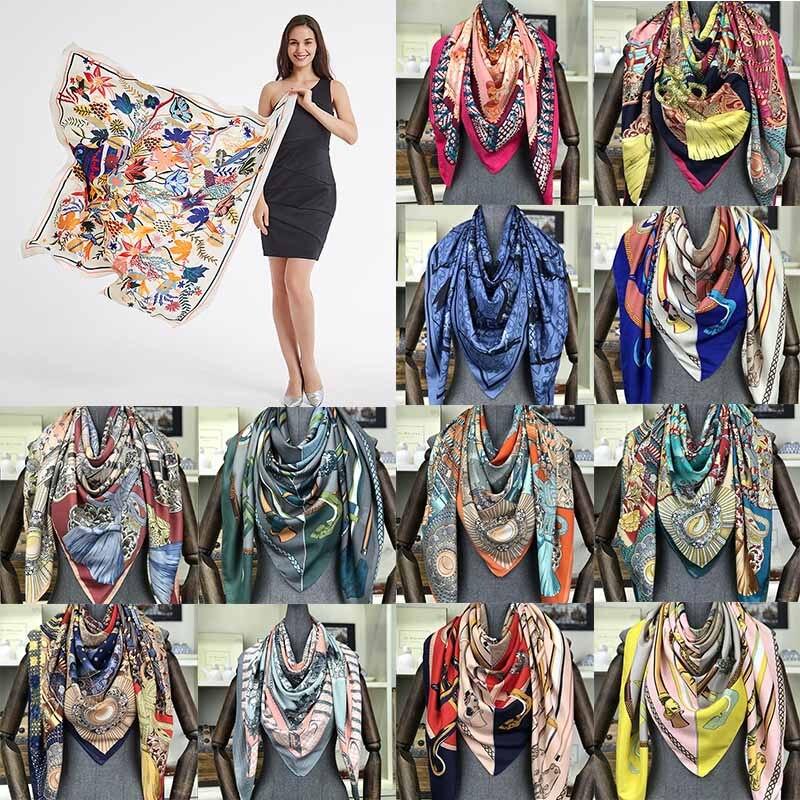 50 Color Silk Scarf Female Twill Oil Painting Large Square Towel 130cm Sunscreen Shawl Hair Head Scarves Women Bandana Wrap