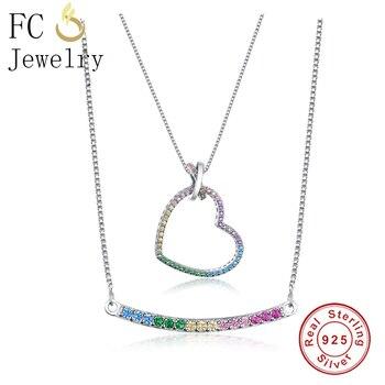 1a6dda72ac68 Hermoso corazón barra colgante collar pavé colorido Arco Iris cúbico  zirconio cristal con caja cadena Navidad mujeres joyería regalos de moda