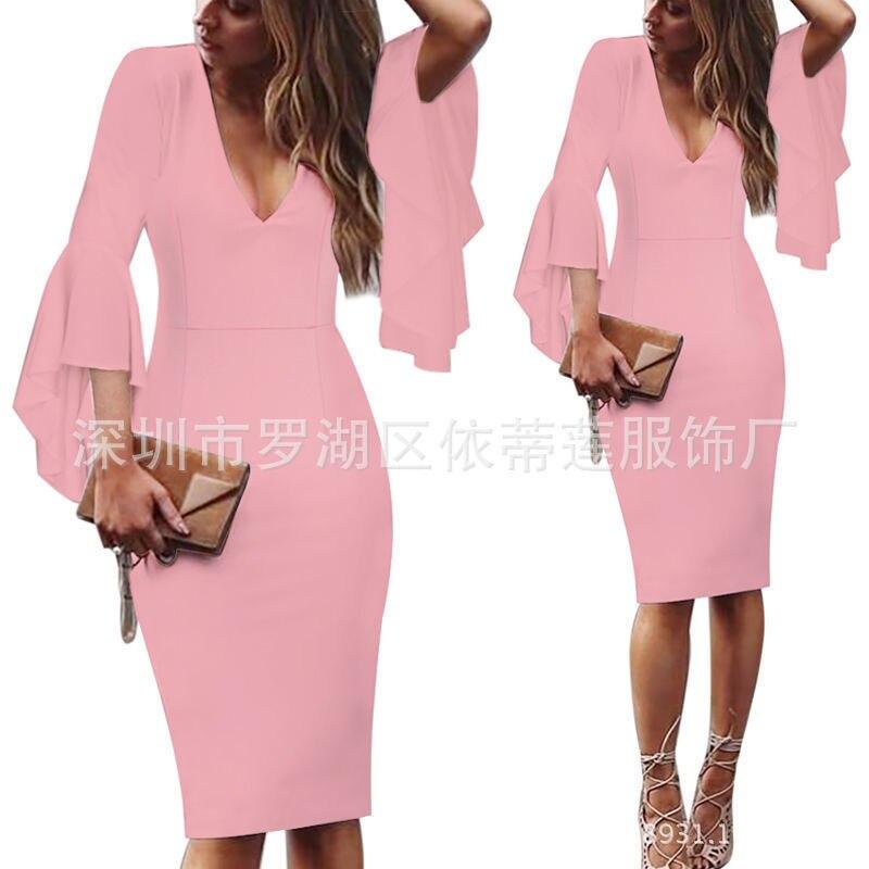 Сексуальные коктейльные платья с v-образным вырезом, Короткие вечерние платья с длинным рукавом, платье длиной до колена, коктейльное повседневное облегающее платье с оборками - Цвет: Pink
