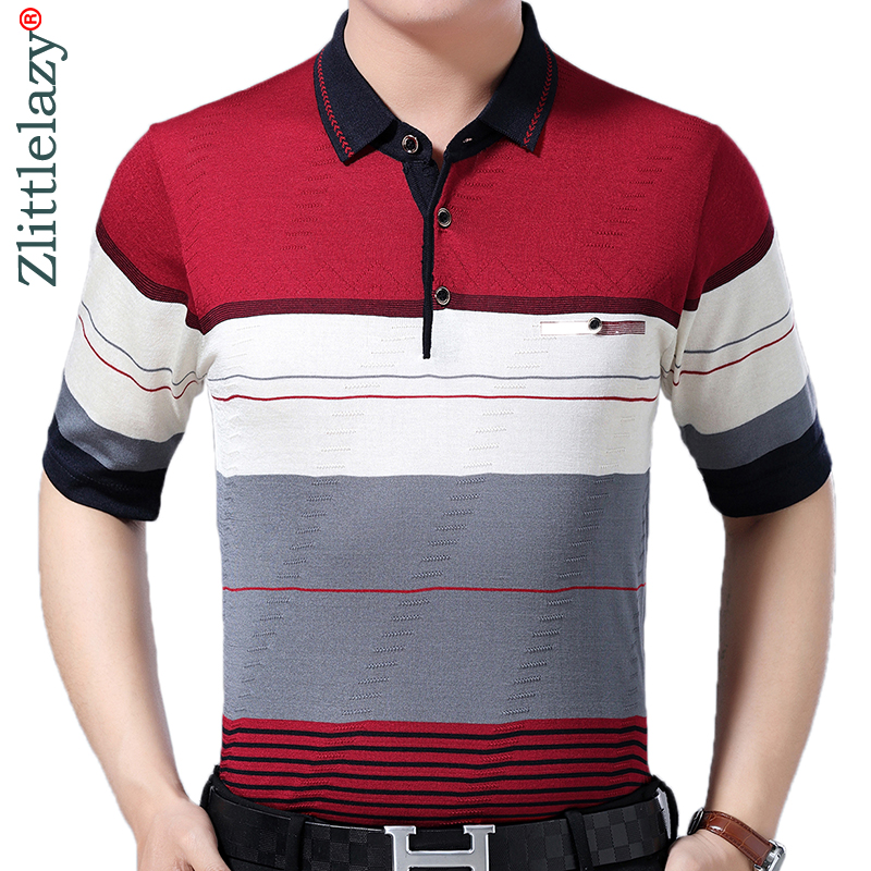 2019 brand casual summer striped short sleeve   polo   shirt men poloshirt jersey pocket mens   polos   tee shirts dress fashions 52043
