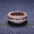 Rose Gold brand new engagement ring women cubic zircon 925 glitter elegant flower ring for women