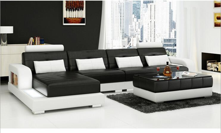 modern style living room Genuine leather sofa a1302 image