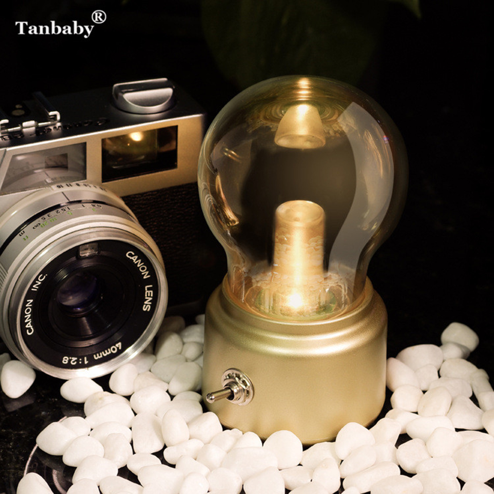 Tanbaby Mini Retro Bulb Metal Lever Switch LED Lamp Rechargeable Edison Bulb Atmosphere Lamp Vintage Art Desk USB Night Light