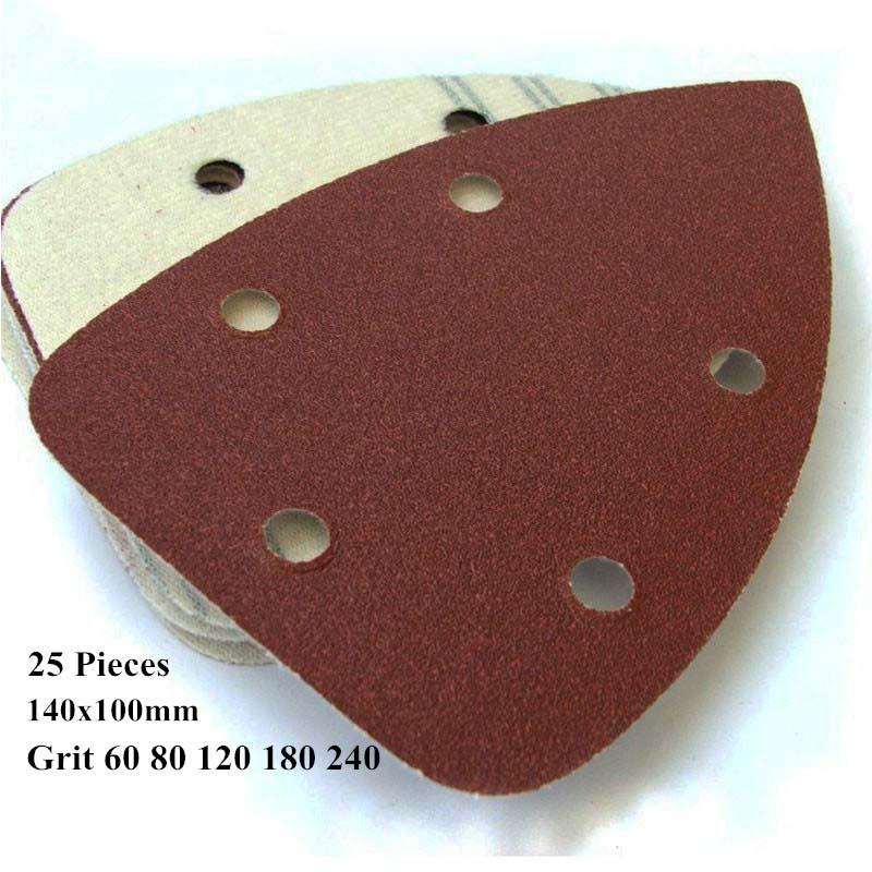 25pcs 140x100mm 5 Holes Sand Paper Aluminum Oxide Hook Loop Abrasive Sanding Paper For Palm Sander Grit 60 80 120 180 240