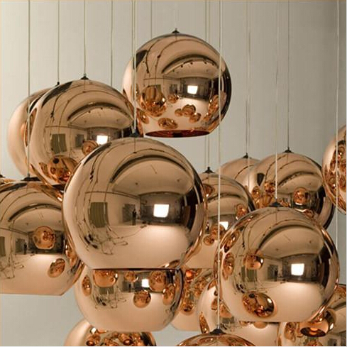 NEW Copper Shade Mirror Chandelier Ceiling Light E27 LED Pendant Lamp Bulb Modern Christmas Glass Ball Golden Lighting