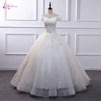 Waulizane New Arrival Ball Gown Champagne Appliques Wedding Dress Of Floor Length Without Train
