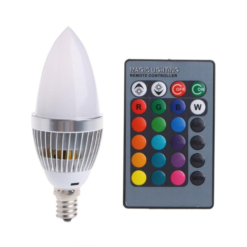 E14 3W RGB LED 15 Colors Changing Candle Light Bulb Lamp W/Remote Control AC85-265V