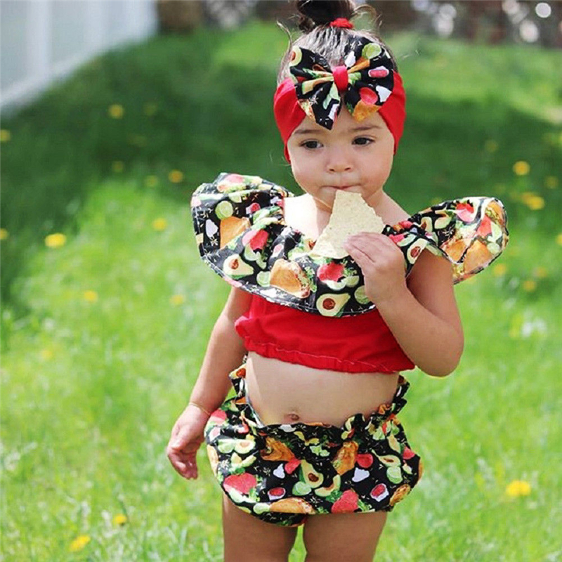 acf84005ff99b Detail Feedback Questions about Hot Selling Lovely Children Girls Clothes  Sets Summer Crop Tops + High Waist Shorts Toddler Kids Baby Girls Fruit  Outfits ...