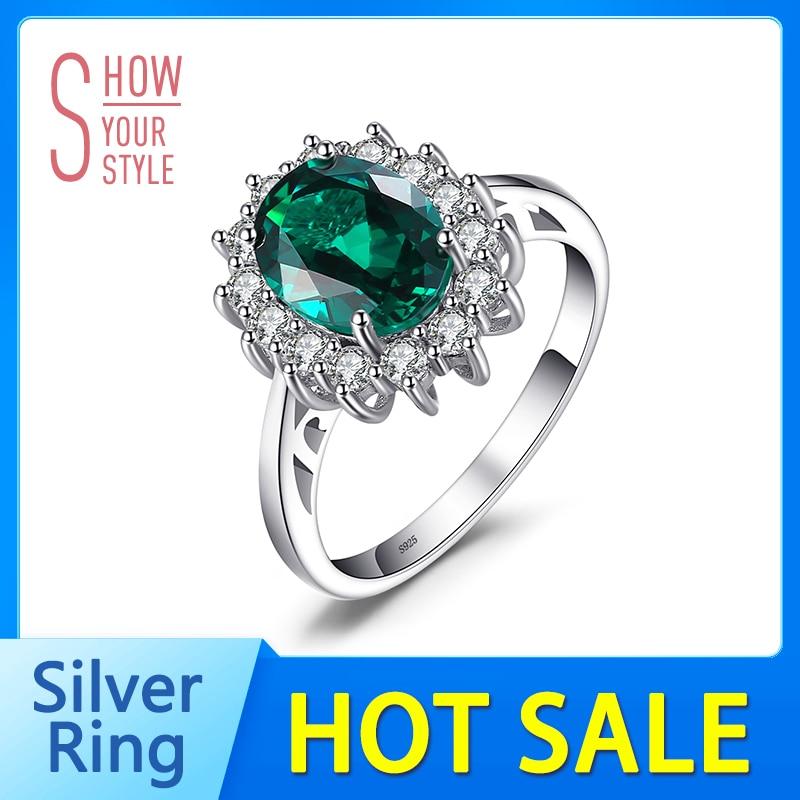 Jewelrypalace verde esmeralda plata de ley 925 moda princesa diana - Joyas