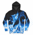 Real USA size Blue Fire Smokin' Flames 3D Sublimation Print  Hoody/Hoodie Custom made plus size