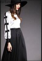 לבן שחור שרוול הארוך לנשים להתלבש סתיו פנס קשת קשתות שמלות צד פורמלי כדור החוף boho מקרית מקסי vestido 8045