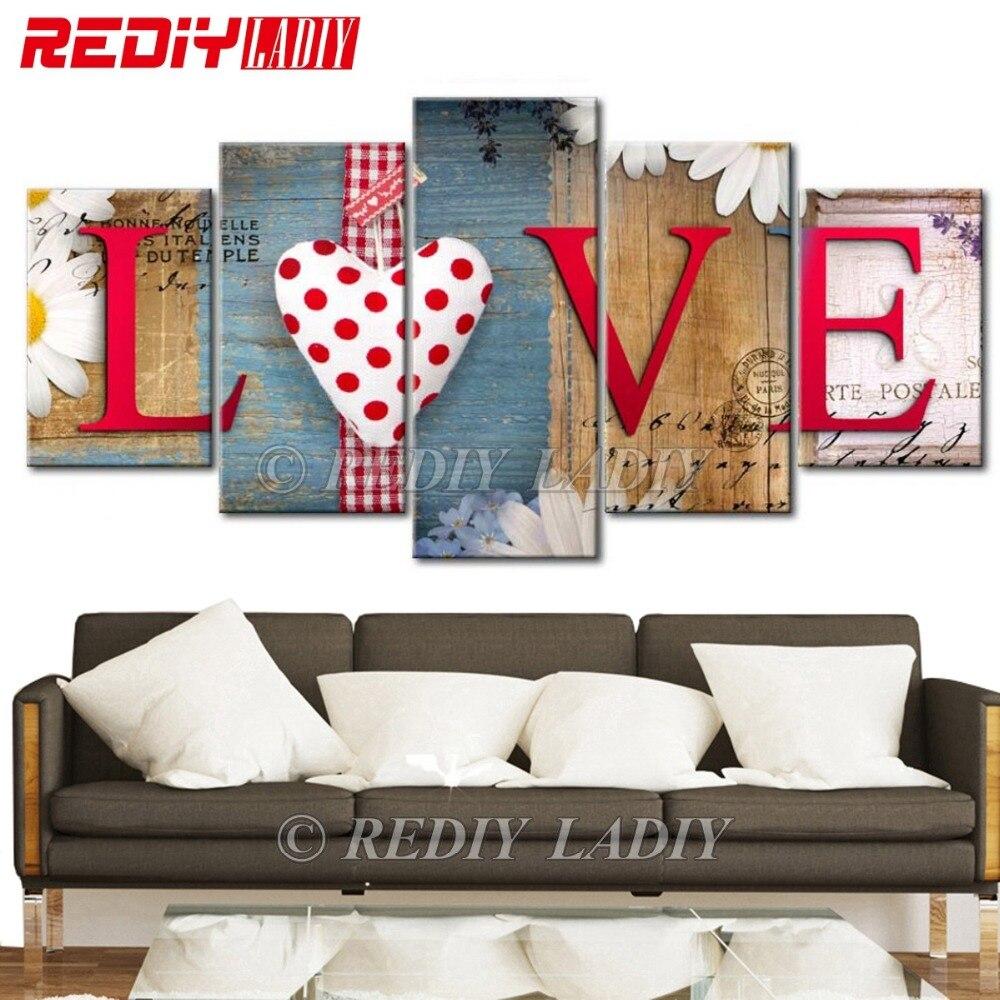REDIY LADIY 5D Diamond Embroidery Triptych Love Home 5 Panels Modular Picture 5D Diamond Painting Cross