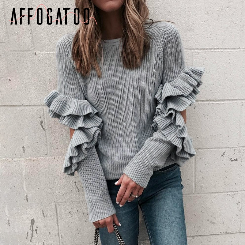 Affogatoo Elegant Hollow Out Ruffles Winter Sweater Pullover Women Long Sleeve Loose Pullover Female Warm Autumn Casual Jumper