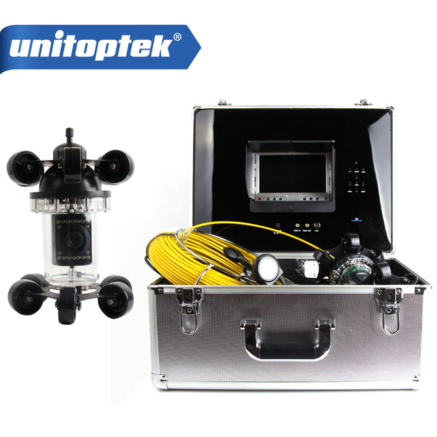 20M Fiber Glass Cable Rotate 360 Degree Night Vision Camera Pipe Inspection Camera with 7 Inch Monitor DVR Max 16GB Card