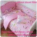 Promoción! 6 / 7 unids Hello Kitty lecho del pesebre del bebé cuna cama alrededor de hermosa cuna lecho del lecho del bebé, 120 * 60 / 120 * 70 cm