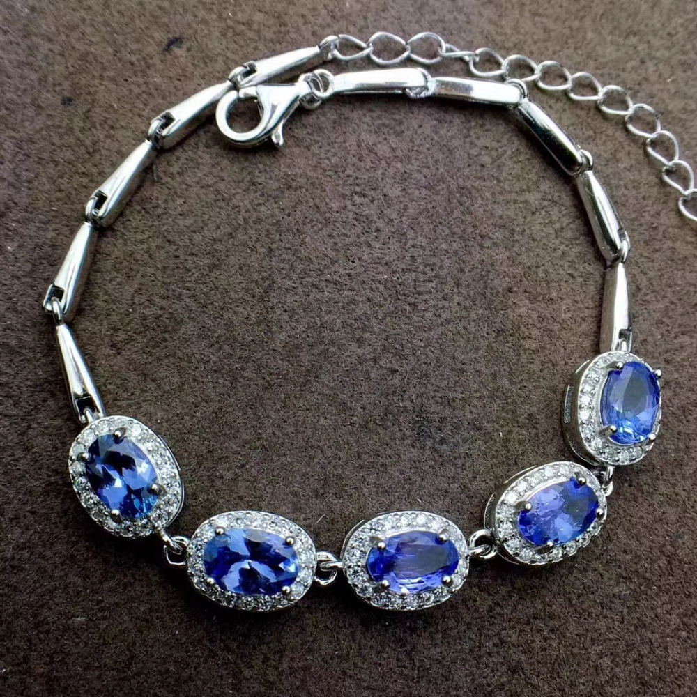 Natural blue tanzanite gem Bracelet Natural gemstone Bracelet 925 silver bracelet classic round women party gift