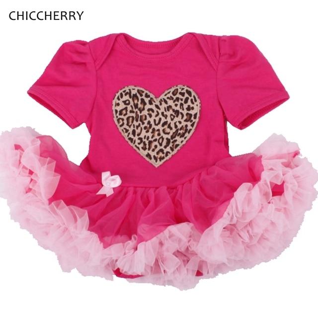 Heart Applique Valentine Baby Girl Clothes Pink Newborn Lace Tutu Leopard Toddler Romper Dress Vestidos Bebe Party Dresses