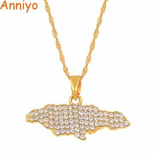 Anniyo Jamaica Map Pendant Necklaces for Women Girls With Rhinestone Jewellery Gold Color Jamaican Jewelry Gifts #159606(China)