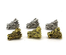 50pcs 16*12mm Charms for Jewelry DIY Making Antique gold  antique silver Dragon head Beads Spacer Bead for bracelet