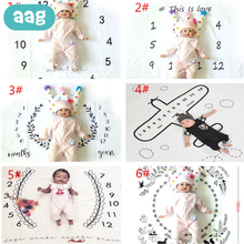 AAG Baby Milestone blanket Newborn Anniversary Photography Prop Background Monthly Growth Commemorative Wrap Swaddle Blanket baby milestone blanket newborn photography blanket flannel crawling blanket for baby 0 12 m sleeping bath blanket